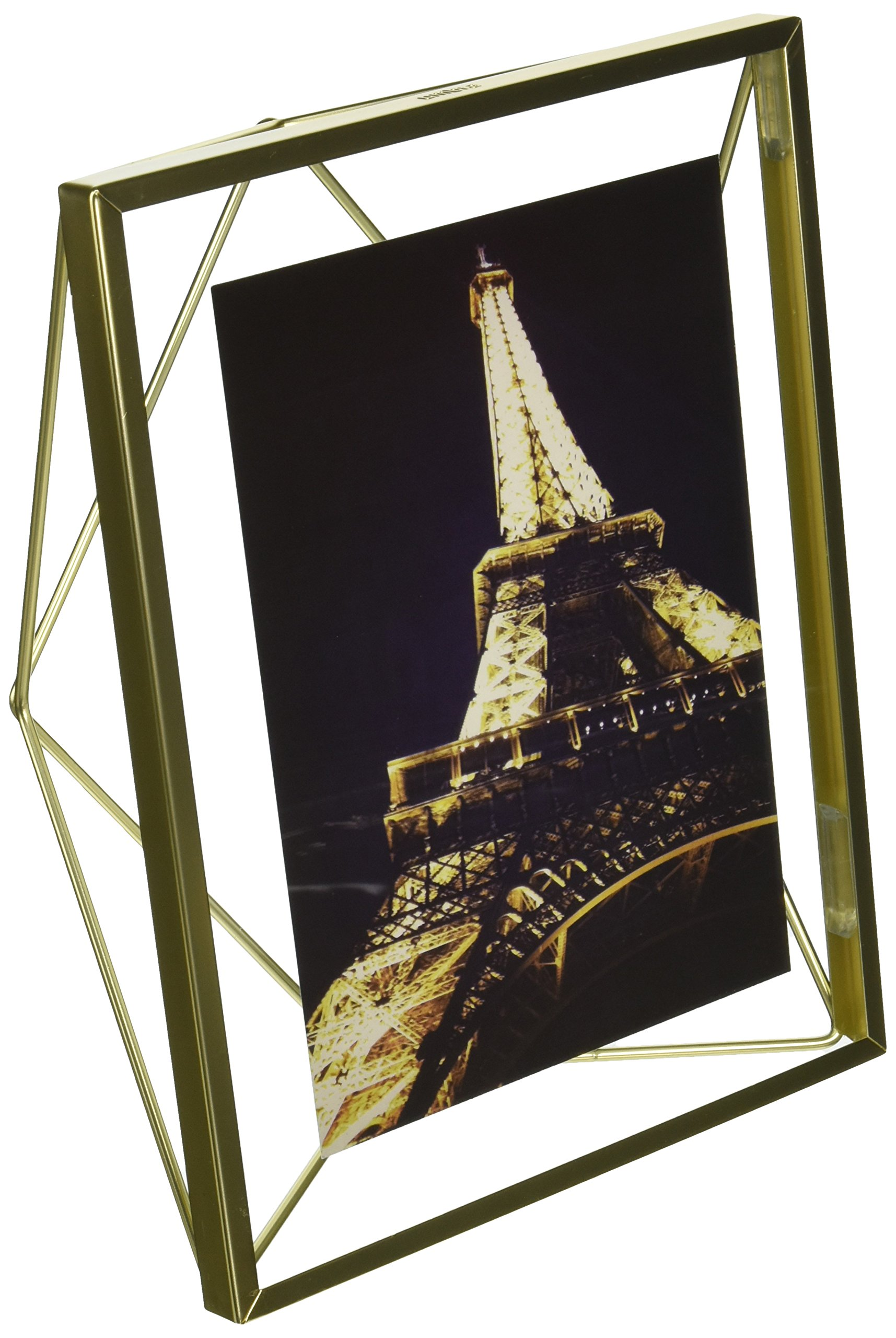 Umbra Prisma 5 x 7 Picture Frame – Floating Wall or Desk Photo Display for Pictures, Art, Illustrations, Graphic Text & More, Metal, Matte Brass by Umbra