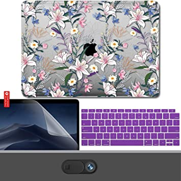 KBBHD Plastic Shell Case Cover Keyboard Cover Screen Protector Webcam Only Compatible 2010-2017 Release MacBook Air 13 inch Milk White /& Rose Quartz Model: A1369//A1466 Logo Cut Out No Touch ID
