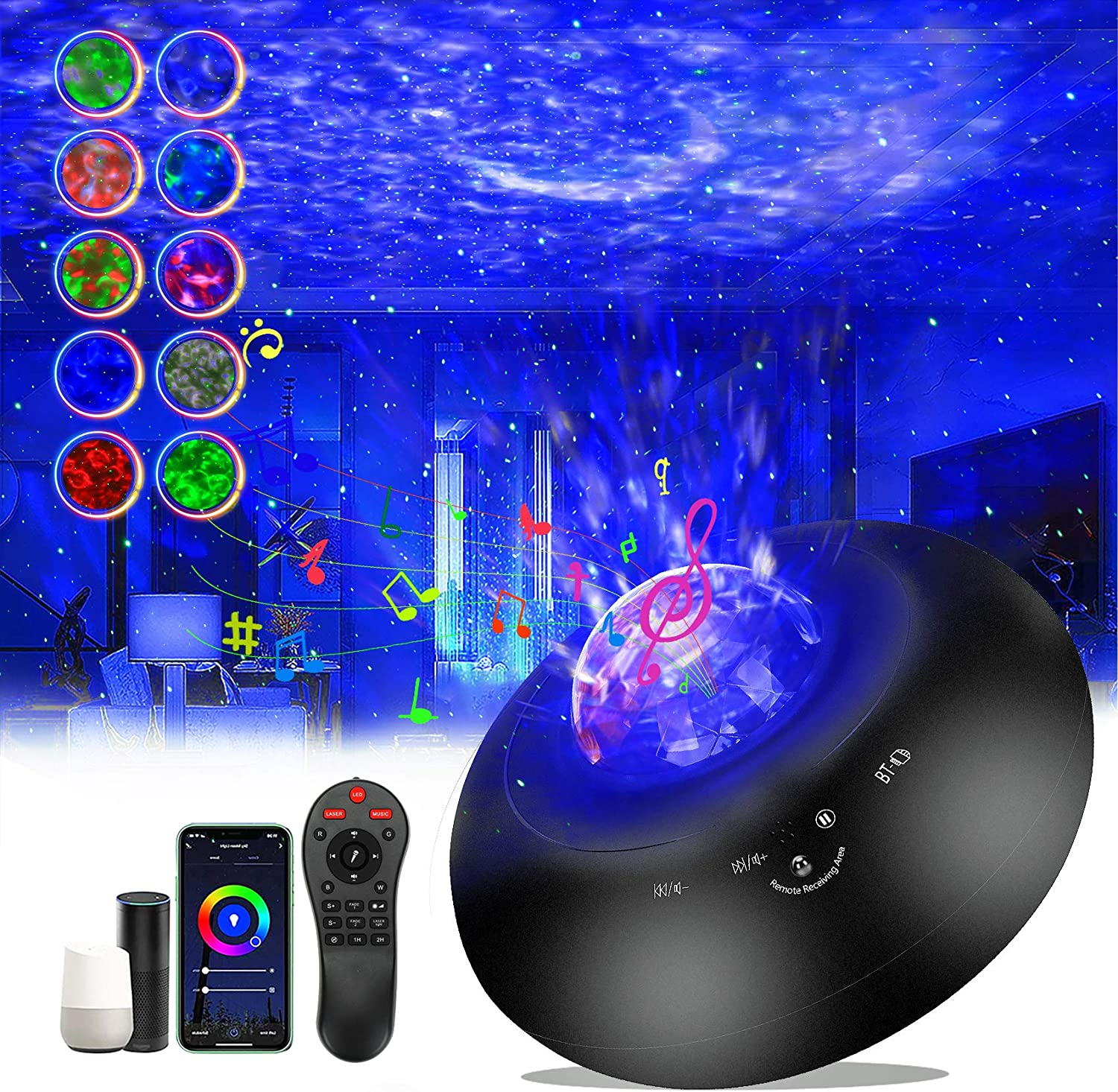 Star Projector,Smart Galaxy Projector Night Light Work with Alexa Google Home,Ocean Wave Lights Projector with APP Remote Control Bluetooth Speaker for Baby Kids Adult Bedroom/Party/Christmas Gift