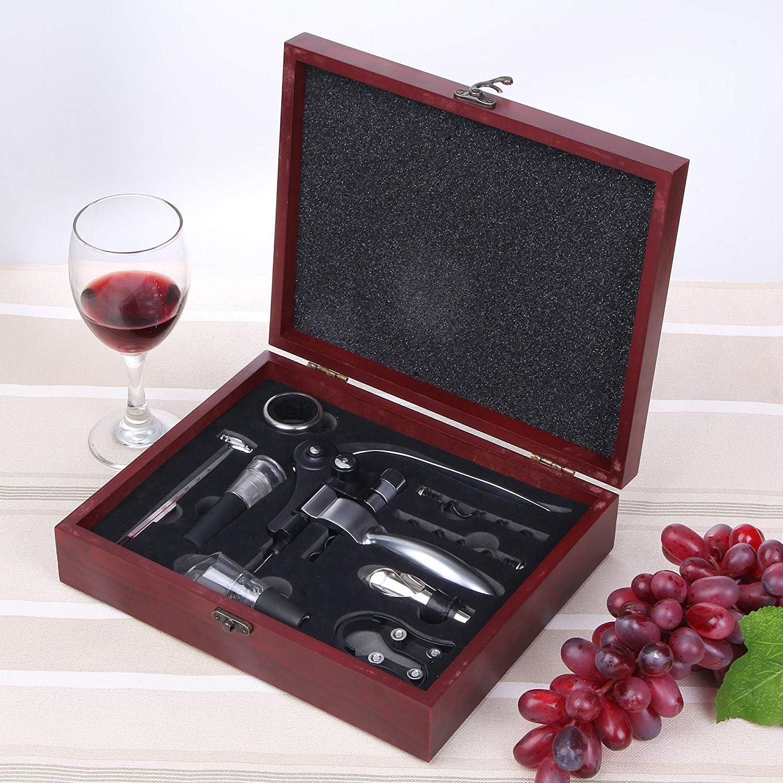 9 St/ücke Weinflasche Screwpull Zubeh/ör Geschenkset Folienschneider Wein Stopper und Ausgie/ßer Korkenzieher Hase Korkenzieher Set Zus/ätzliche Schrauben In Deluxe Rote Box
