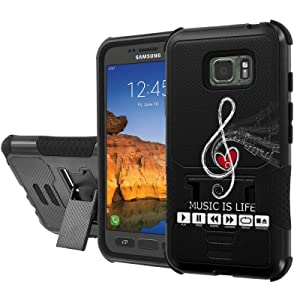 [AT&T] Galaxy [Active S7] Armor Case [NakedShield] [Black/Black] Urban Shockproof Defender [Kick Stand] - [Music is Life] for Samsung Galaxy [S7 Active]