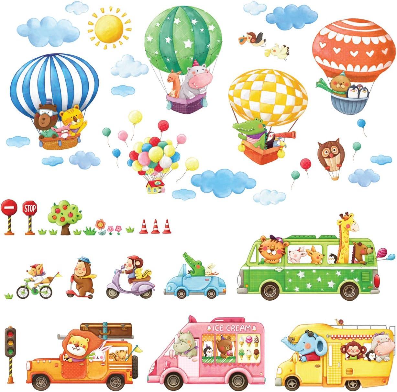DECOWALL DA-1806P1406B Transportes de Animales Globo Aerost/ático Vinilo Pegatinas Decorativas Adhesiva Pared Dormitorio Sal/ón Guarder/ía Habitaci/ón Infantiles Ni/ños Beb/és