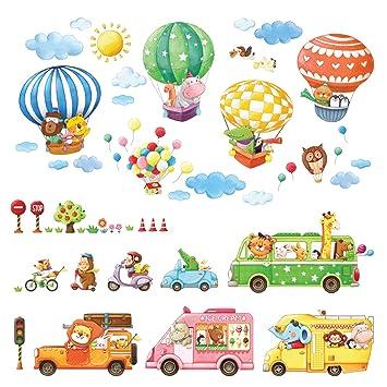 Decowall DA-1806P1406B Transporte Autos Tiere Bunter Heißluftballon Tiere  Wandtattoo Wandsticker Wandaufkleber Wanddeko für Wohnzimmer Schlafzimmer  ...