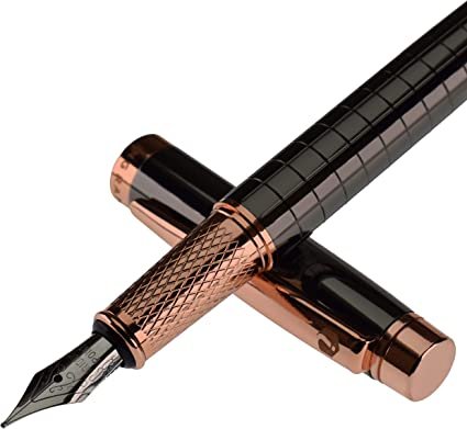 Ingram Pluma estilográfica, color negro humo con borde de oro rosa, punta media de flujo suave, con 2 cartuchos de tinta negra, caja de regalo ejecutiva de piel sintética: Amazon.es: Oficina y