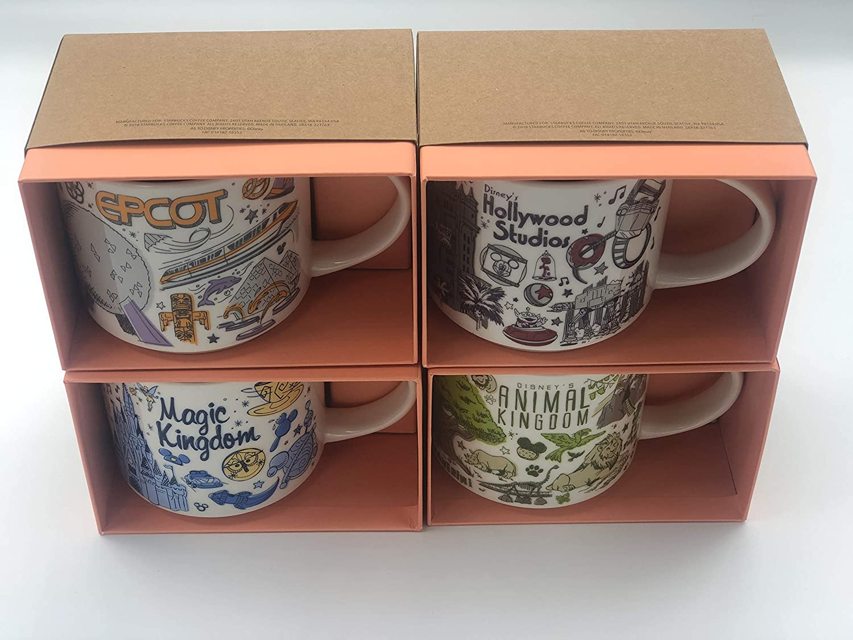 Set of 4 Mugs: Disney's Magic Kingdom, EPCOT, Hollywood Studios, Animal  Kingdom, Been There Series Starbucks Mugs