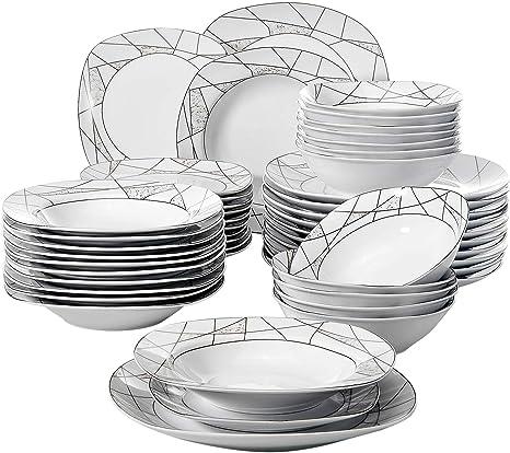 VEWEET Porzellan Tafelservice 48-teilig Geschirrset Kombiservice für 12 Person