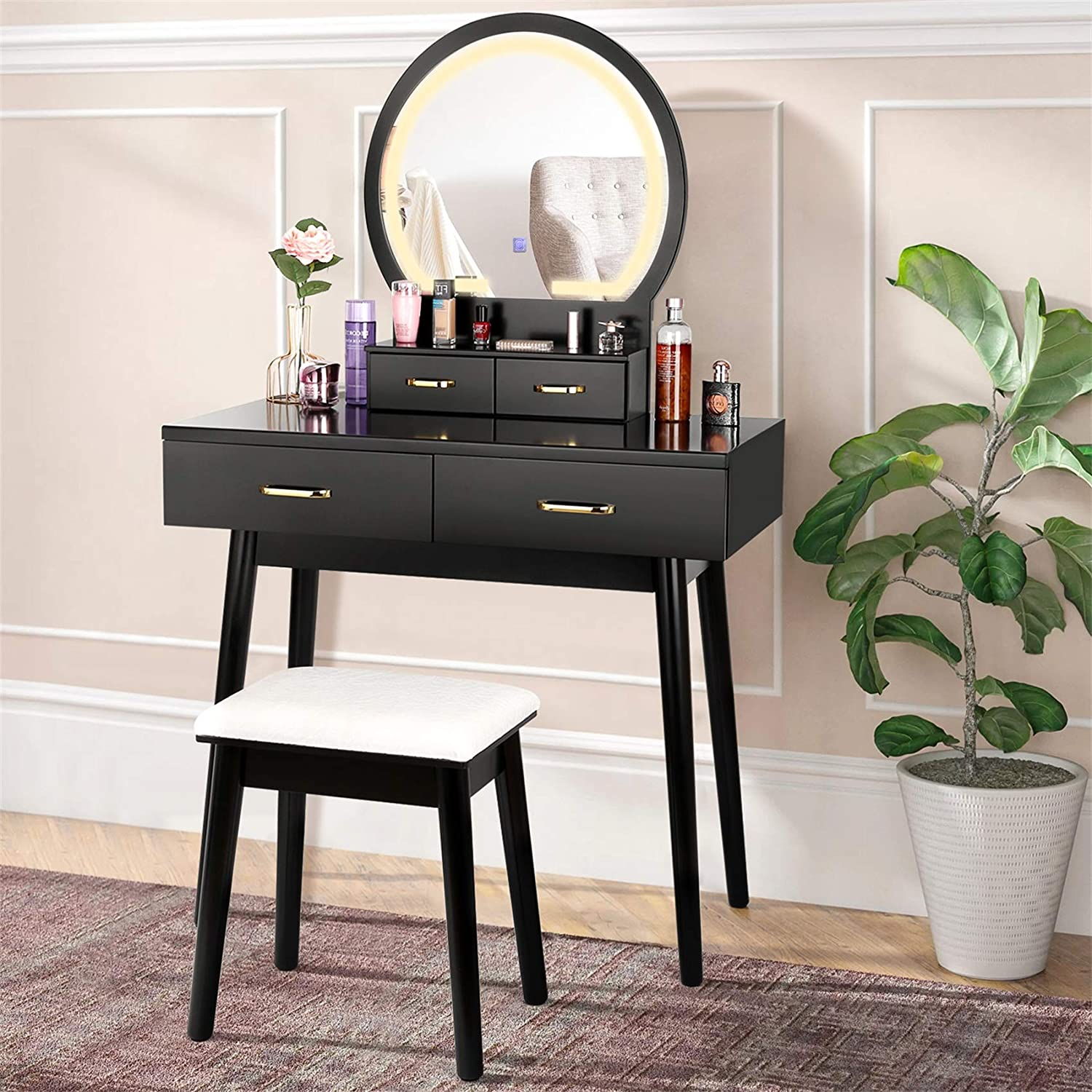 amzdeal Vanity Set with Lighted Mirror, Makeup Vanity Dressing Table with Touch Screen Dimming Mirror, 3 Color Lighting Modes 4 Drawers Dresser Desk and Cushioned Stool Set - Black