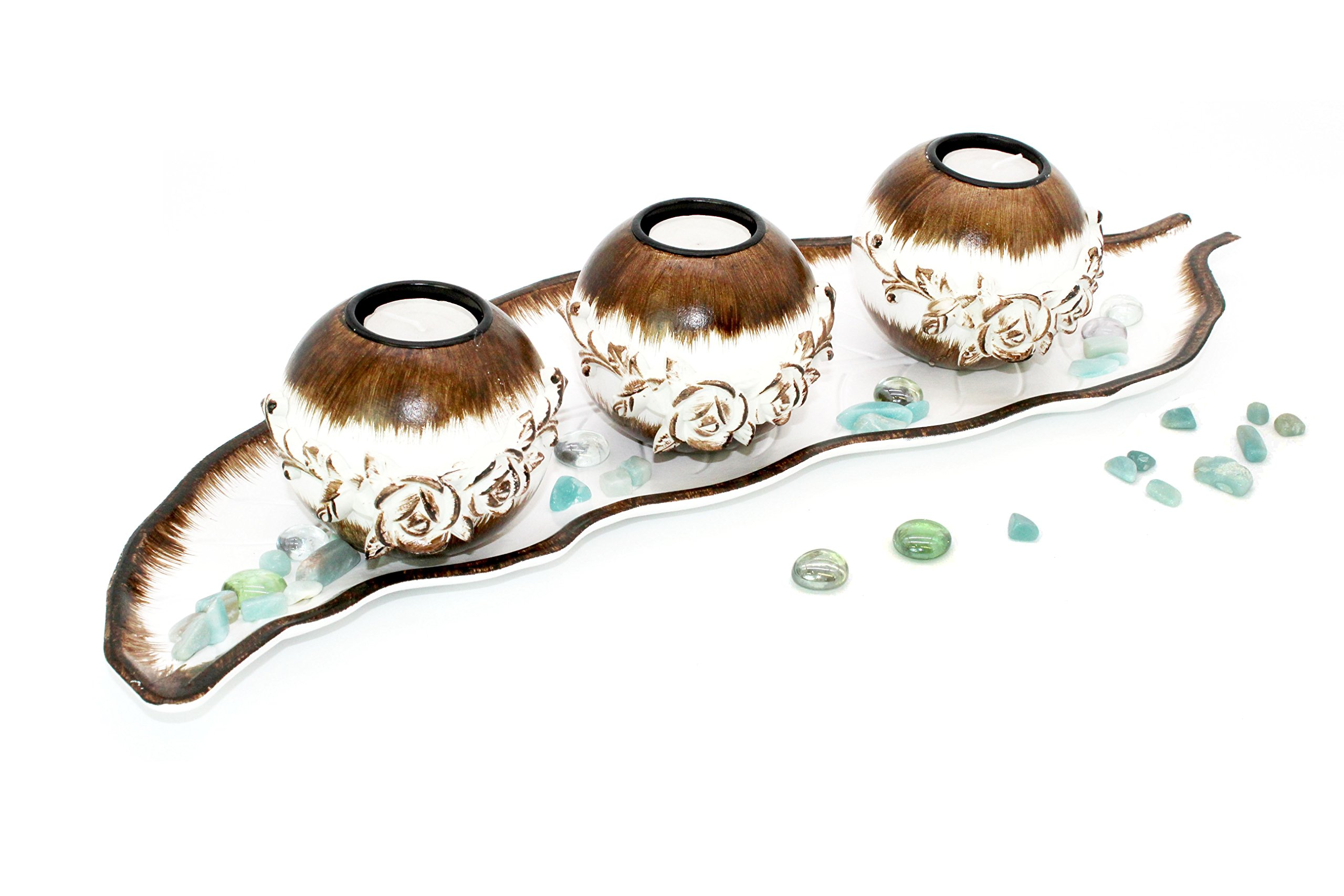 Rustic Table Centerpiece Set: Decorative 3 Candle Holder 20'' Inch Wood Kitchen Leaf Shaped Tray with Turquoise Rocks Coffe/Dining Room Decor