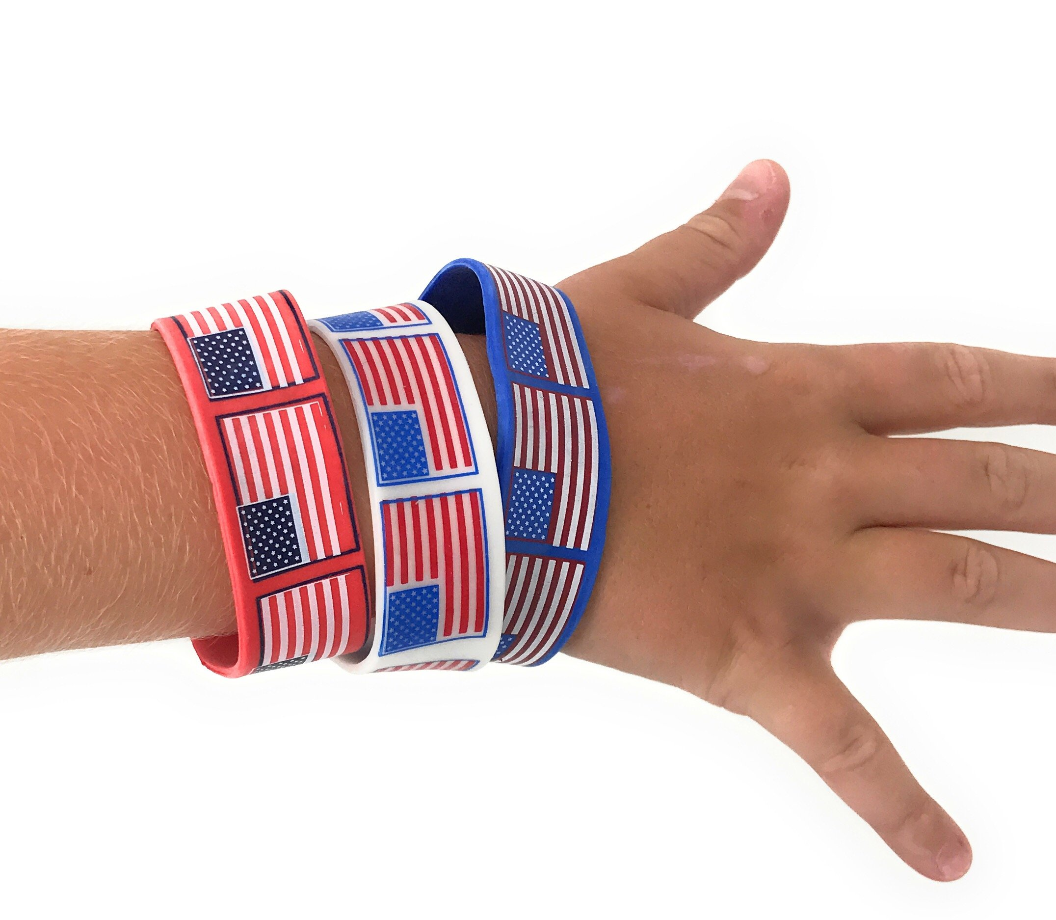 Bulk 48 Pack of American Flag Bracelets - Ideal Party Favors for Fourth of July Parades, 4th of July Parties, BBQ's, Picnics and Family Events by SVT (Image #2)
