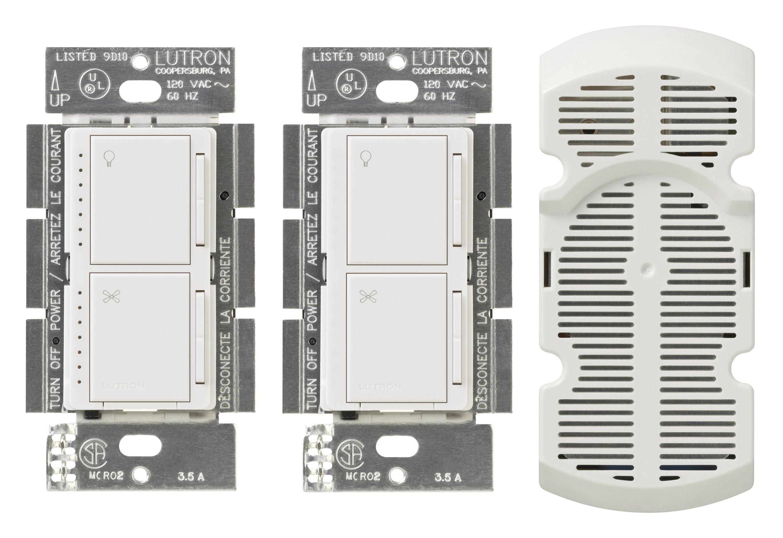 Lutron MA-LFQ3-WH Maestro Multi-Location Fan Control Kit, White