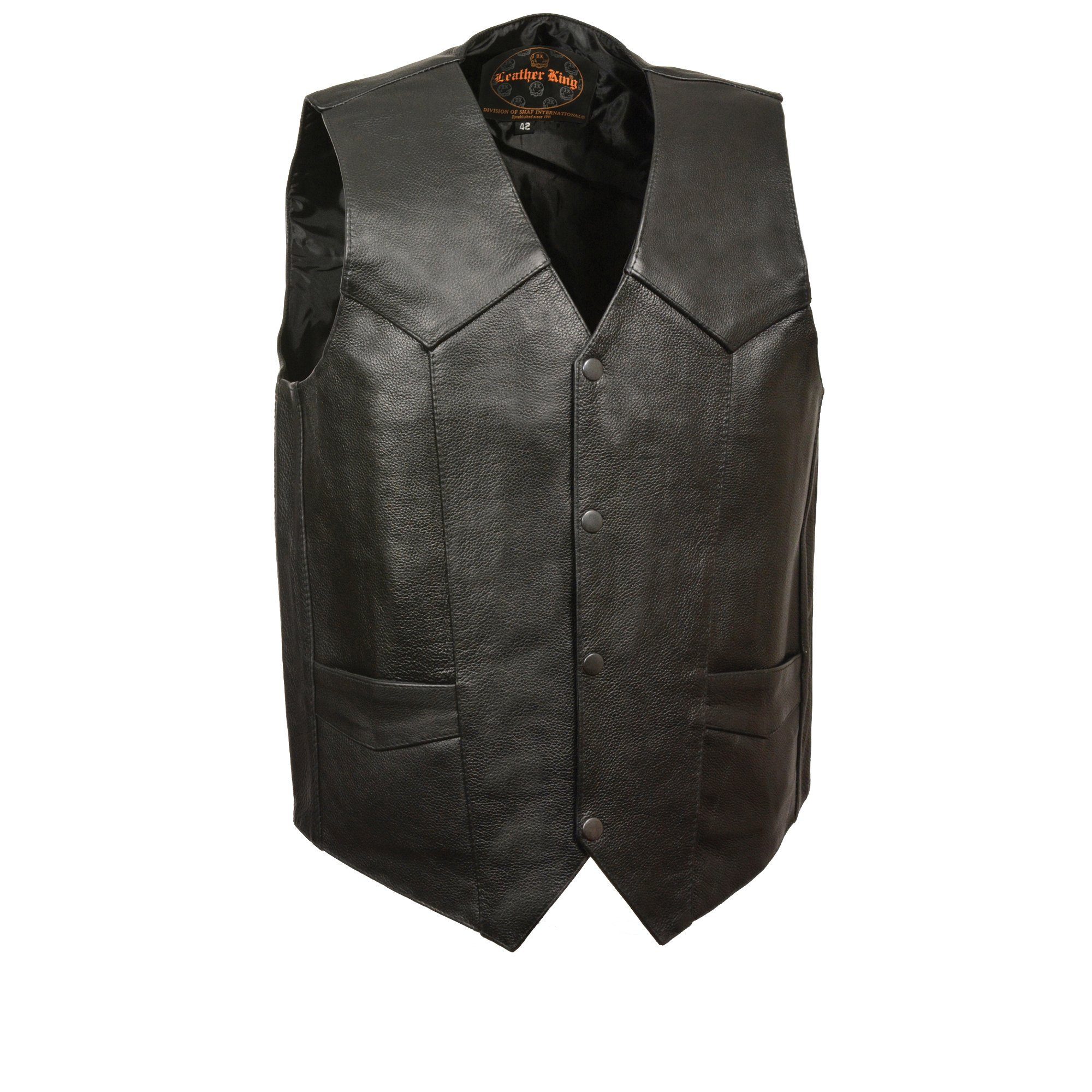 M-BOSS MOTORCYCLE APPAREL-BOS13514T-BLACK-Men's tall size basic concealed carry biker leather vest.-BLACK-X-LARGE-TALL by M-BOSS MOTORCYCLE APPAREL (Image #1)