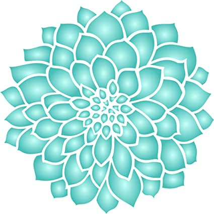 "Dahlia or Zinnia Stencil - (size 10.5""wx 10.5""h) Reusable Wall Stencils for Painting - Best Quality Zinnia Grande Flower Ideas - Use on Walls, Floors, ..."