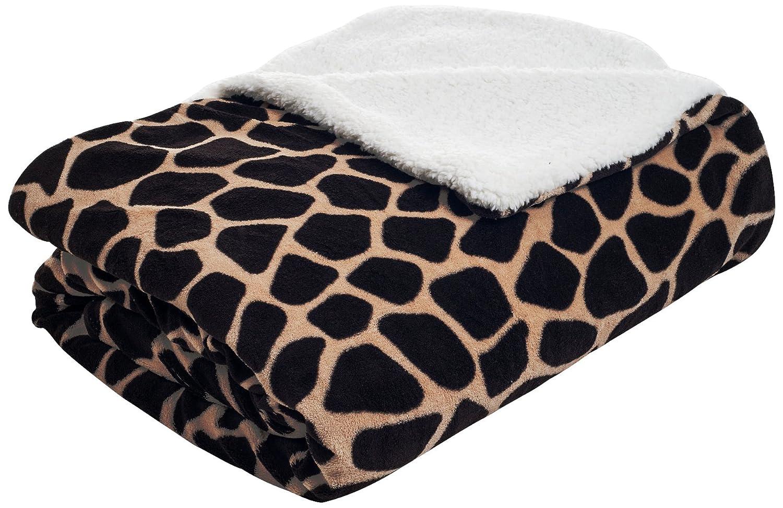 Lavish Home Fleece Blanket with Sherpa Backing, Full/Queen, Giraffe 61-00003-FQ-Gir