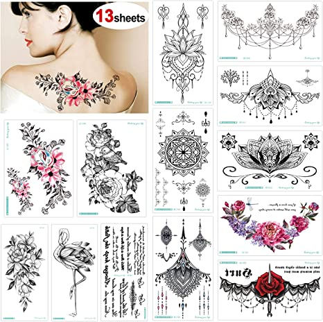 Konsait Tatuajes temporales para adultos Mujer (13 hojas ...