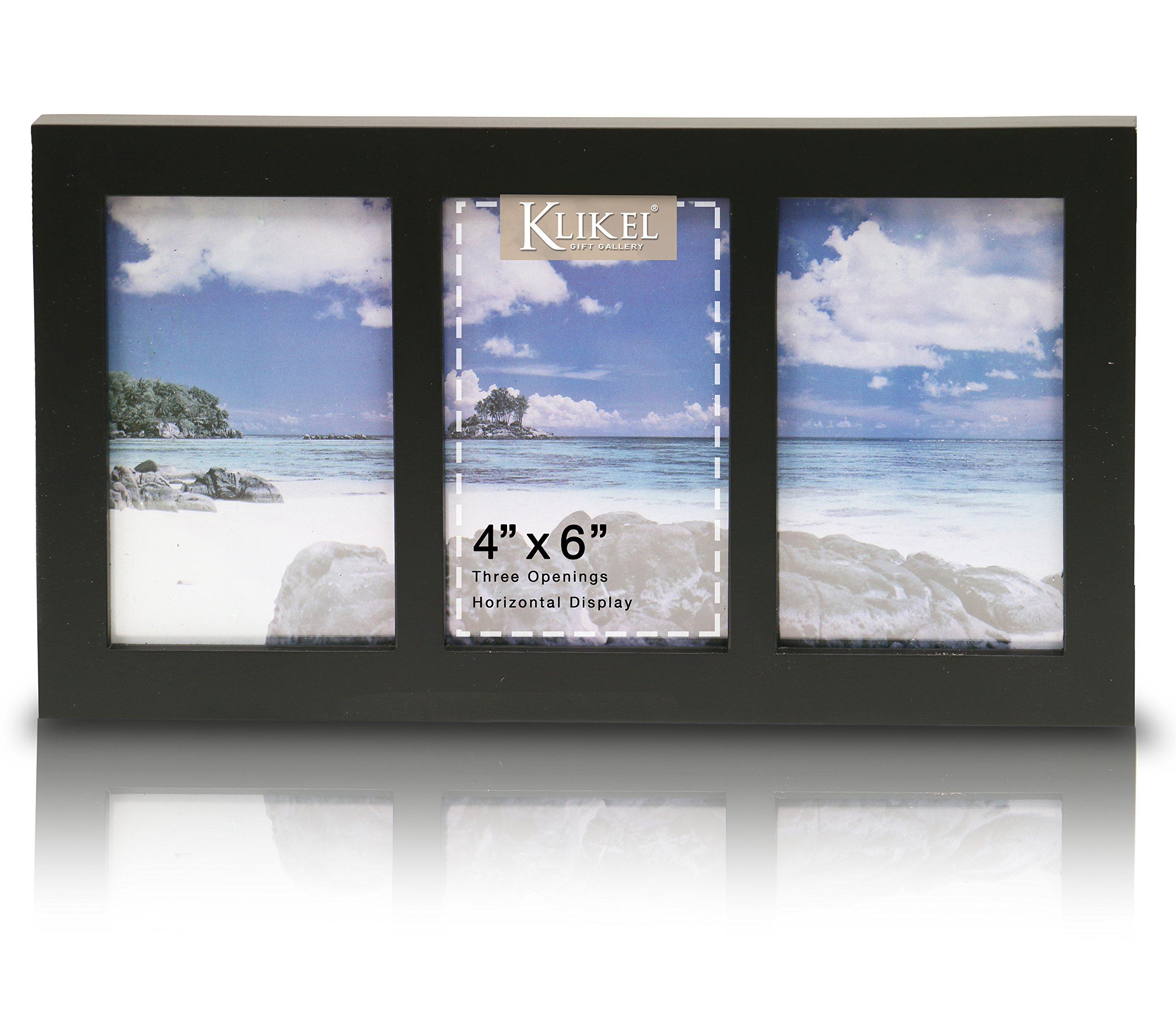 Klikel Photo Collage Frame | Black Wooden Wall Frame | 3 Openings - 4x6 Pictures | Decorative Family Picture Frame by Klikel