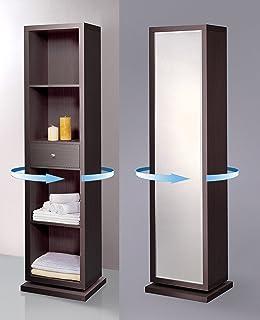 amazon com mirrotek free standing 360 degree swivel accent storage rh amazon com full length mirror with shelves behind full length mirror with storage and lights