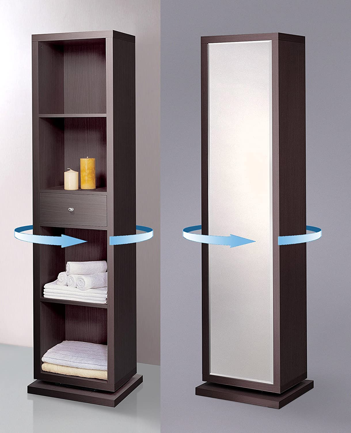 Artiva USA Bella, Home Deluxe, Accent, Sturdy Rotating System, Free-Standing Mirror and Swivel Cabinet Organizer with 4 Shelves and 1 Drawer, 71-Inch, Merlot