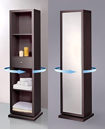 Amazon.com Artiva USA Bella Home Deluxe Accent Sturdy Rotating System Free-Standing Mirror and Swivel Cabinet Organizer with 4 Shelves and 1 Drawer ... & Amazon.com: Artiva USA Bella Home Deluxe Accent Sturdy Rotating ...