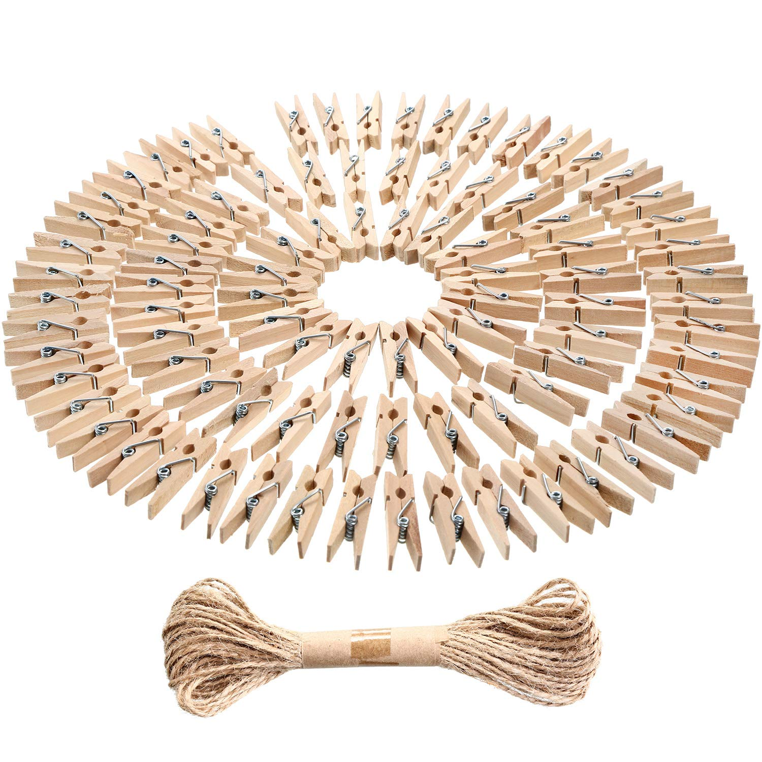 eBoot Mini Natural Wooden Clothespins Photo Paper Peg Pin Craft Clips with Natural Twine, 100 Pieces (10 Colors) No Model