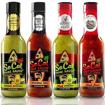 Guac & Hot Sauce Variety Pack | Gift Sets in a Custom Box |4 Bottle Sampler  |2 Mild Ones |2 Hot Ones|