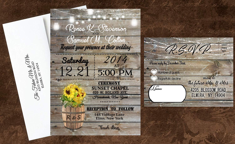Personalised Vintage Rustic Wedding Invitation Invite Guest Info RSVP Sample