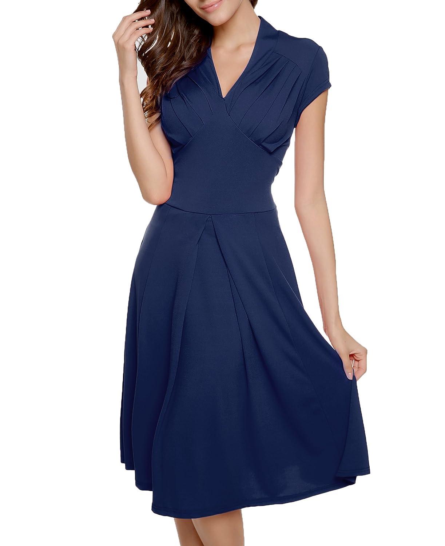 CRAVOG Damen Kleider Elegent Partykleid V-Ausschnitt Rockabilly Abendkleid Cocktailkleid