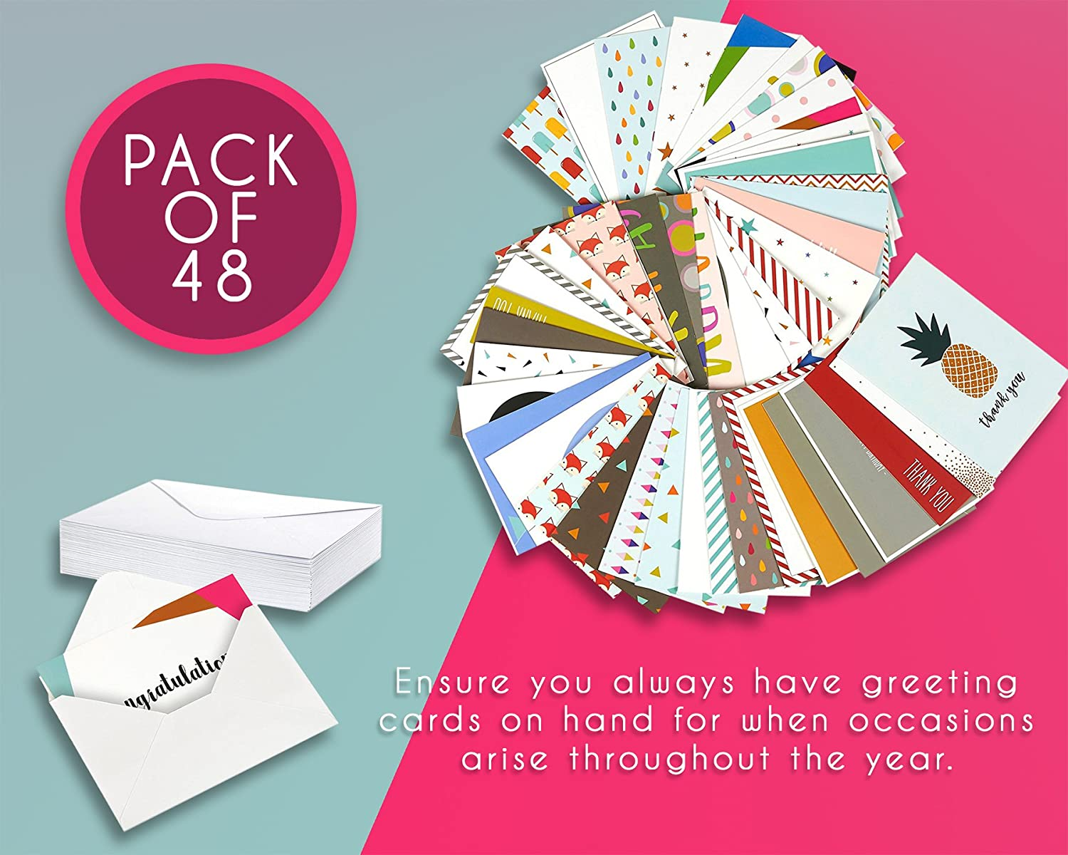 Amazon 48 pack assorted all occasion greeting cards includes amazon 48 pack assorted all occasion greeting cards includes happy birthday congratulations thank you note cards assortment designs bulk box set m4hsunfo
