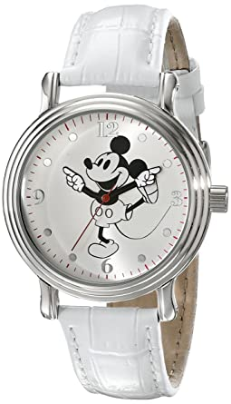 Disney Womens W001865 Mickey Mouse Watch with White Faux-Leather Band