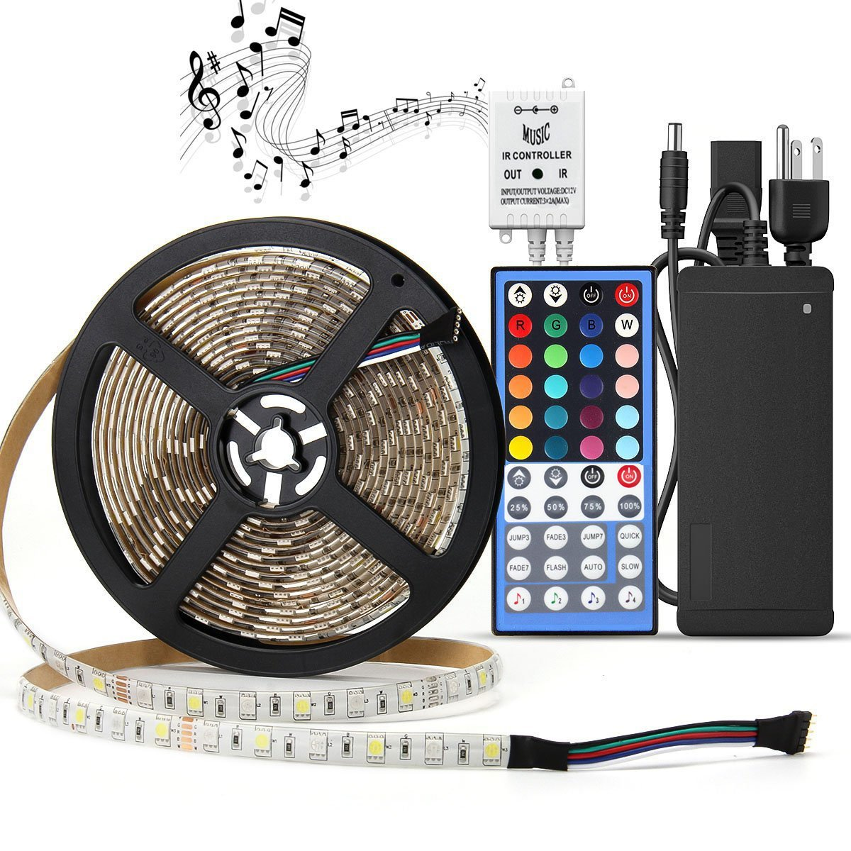 LED Light Strip Kit Waterproof,SUPERNIGHT RGBW (RGB+White) Color Changing Rope Lights,16.4ft 300leds Lighting with 12V Power Adapter and Music Voice Sensor Remote Controller