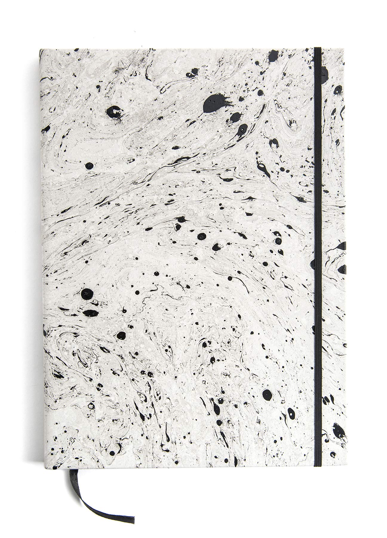 Printfresh Hardcover Leather Sketchbook, Large (9'' x 12''), Blank Drawing Journal with Elastic Closure and Satin Bookmark, 160 Pages, Hand Marbled by Printfresh