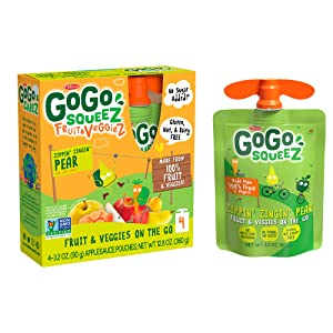 GoGo squeeZ fruit & veggieZ, Apple Pear Carrot, 3.2 Ounce (4 Pouches), Gluten Free, Vegan Friendly, Unsweetened, Recloseable, BPA Free Pouches