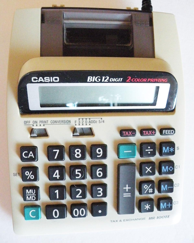 Casio hr-100te calculadora Grande de 12 dígitos 2 Color Impresora ...