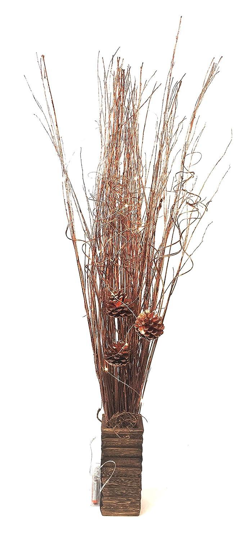 Link prodotti Rose Gold Willow Bundles 95 cm 20 cm, altezza vaso quadrato in legno con 20 luci LED a batteria inclusa. Perfetto per qualsiasi stanza all Year batterie non fornite Link Products