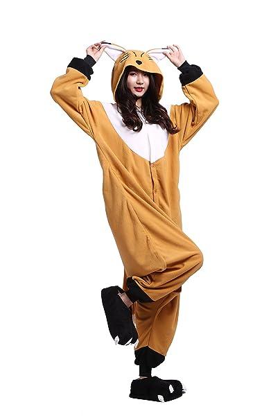 YUWELL Onesie Anime Kigurumi Cosplay Animales Trajes Disfraz Pijamas Pyjamas Ropa De Dormir, Zorro Anaranjado