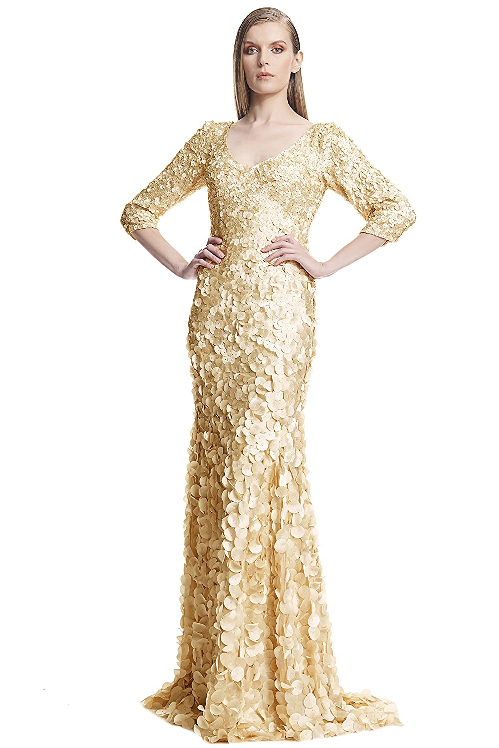 Amazon.com: Theia 3/4 Sleeve V-Neck Petal Embellished Evening Gown ...
