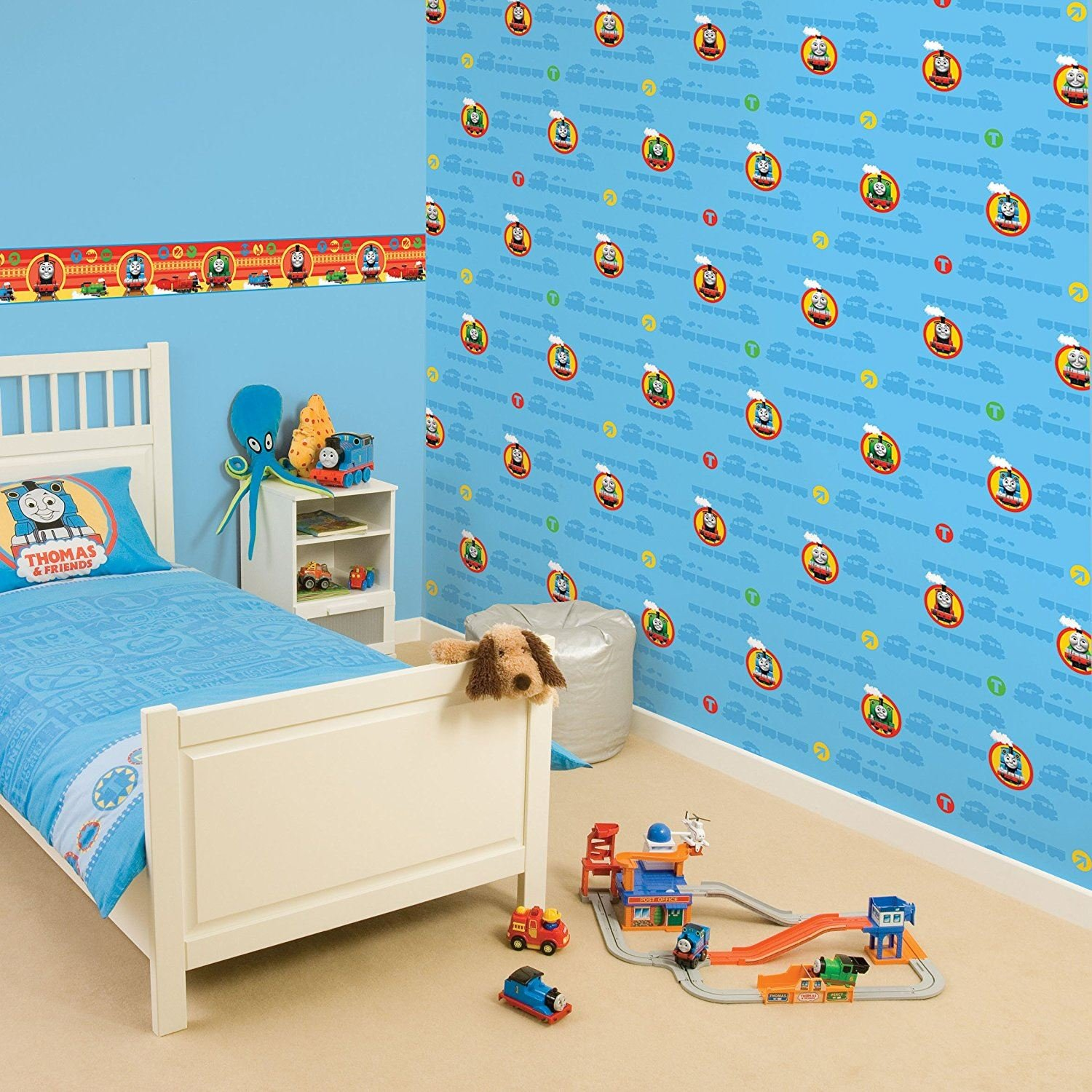 Thomas The Tank Engine Wallpaper Border Blue Official Kids Product Fun4Walls Fine Decor
