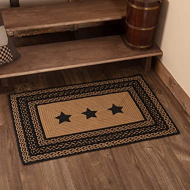 VHC Brands 9807 Classic Country Primitive Flooring-Farmhouse Jute Black Stenciled Stars Rug, 24 x 36, Starss