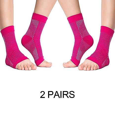 2 pares de calcetines para fascitis plantar, medias de compresión para cuidado de