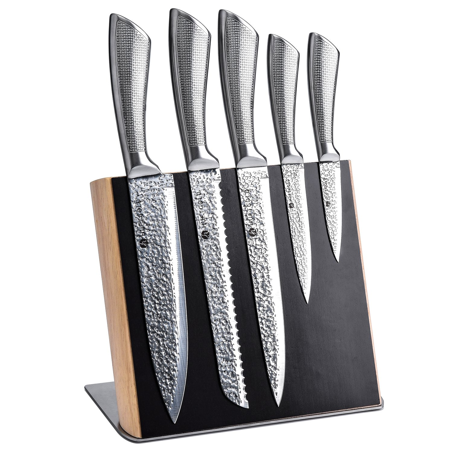 HUFTGOLD Knife Block Set Magnetic Wood, Kitchen Magnetic Knife Block Set, High Carbon Stainless Steel Basic Knife sets with Magnetic Holder,6-Piece
