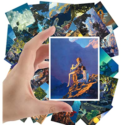 "Large Stickers (24 pcs 2.5""x3.5"") Amazing Lanscapes and Beautiful People Vintage Comic Illustration by Maxfield Parrish: Toys & Games"