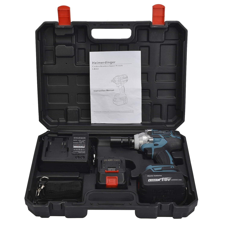 300Nm 2 batteries li-ion 4Ah,poign/ée soft grip- Chargeur rapide 1h Boulonneuse Cl/é a chocs sans fil 18V Brushless