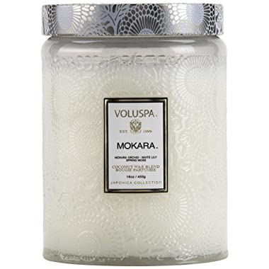 Voluspa Mokara Large Embossed Glass Jar Candle, 16 ounces