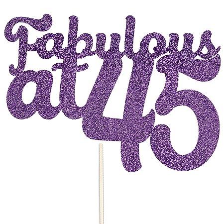 Decoración para tarta con purpurina para cumpleaños de 45 ...