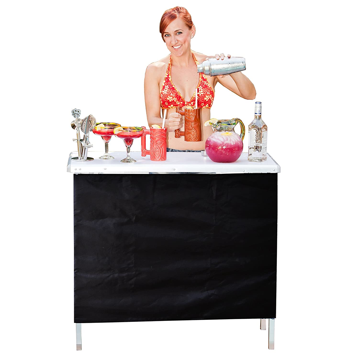 GoPong Portable High Top Party Bar Table with Shelf – 15L x 39W x 36H – Includes 3 Front Skirts and Carrying Case Renewed