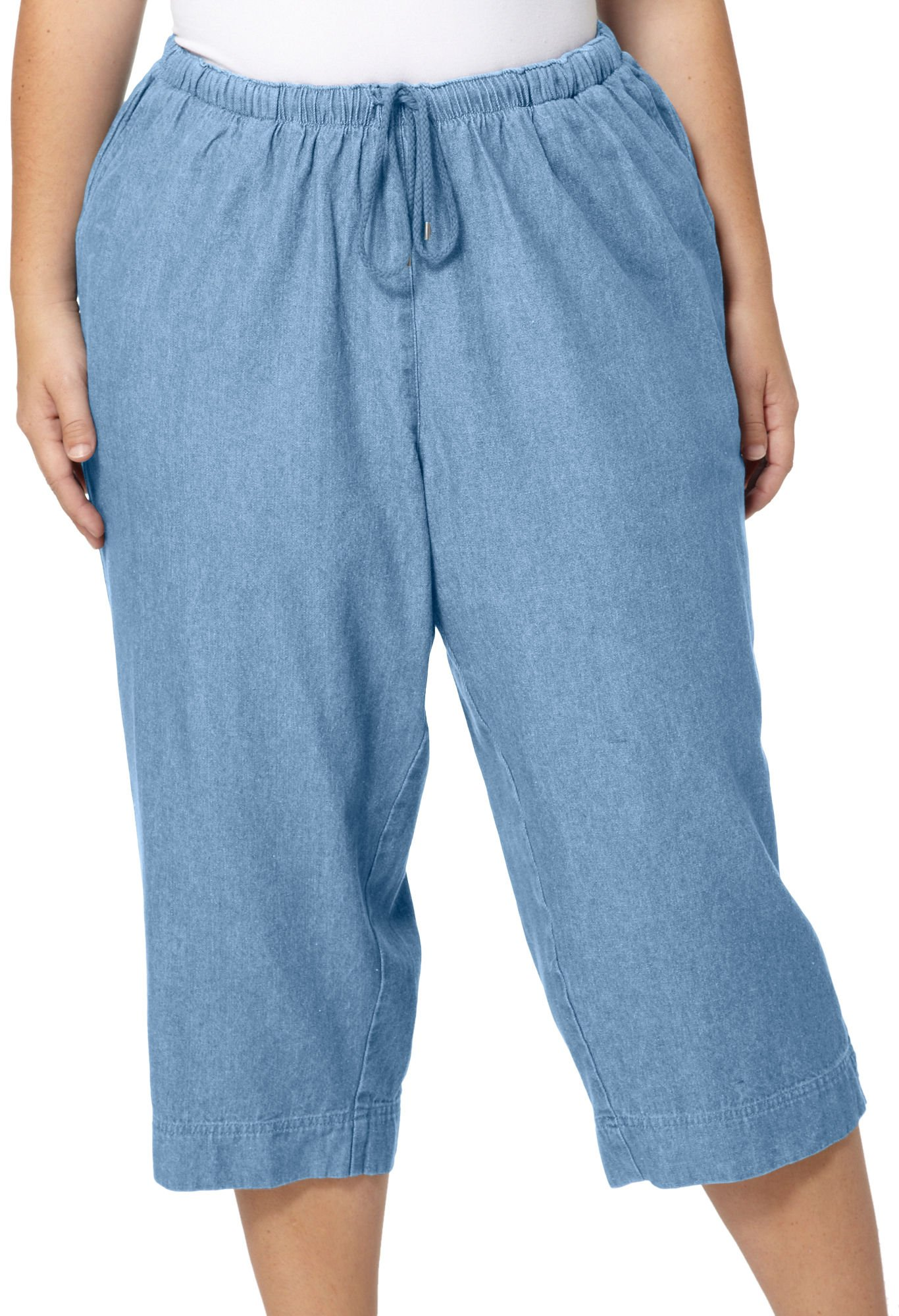 Coral Bay Plus Pull On Twill Drawstring Capris 2X Light chambray by Coral Bay (Image #1)