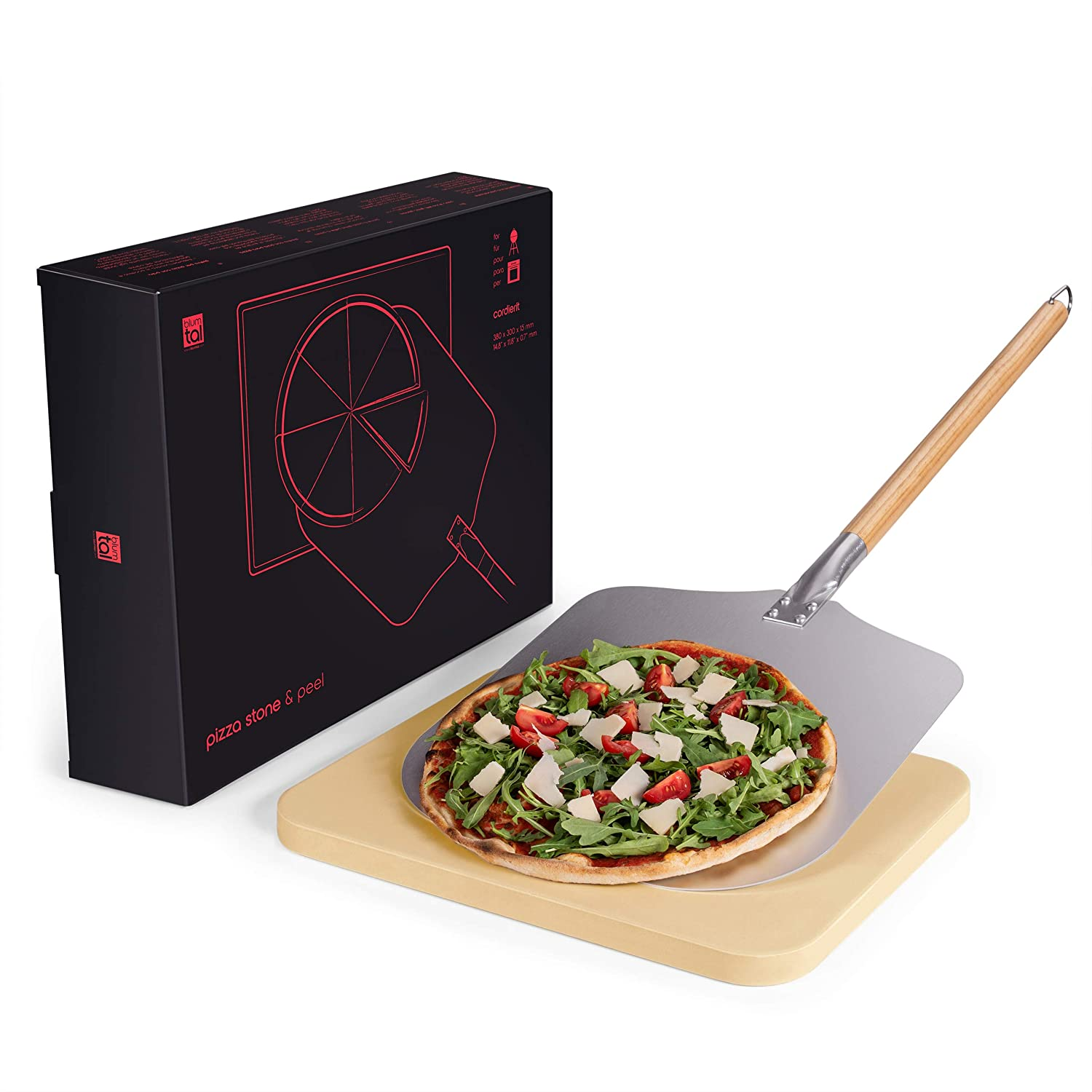 Blumtal Pizza Stone With Peel; Cordierite Pizza Plate With Aluminium Paddle and Long Handle Set Everbrent GmbH