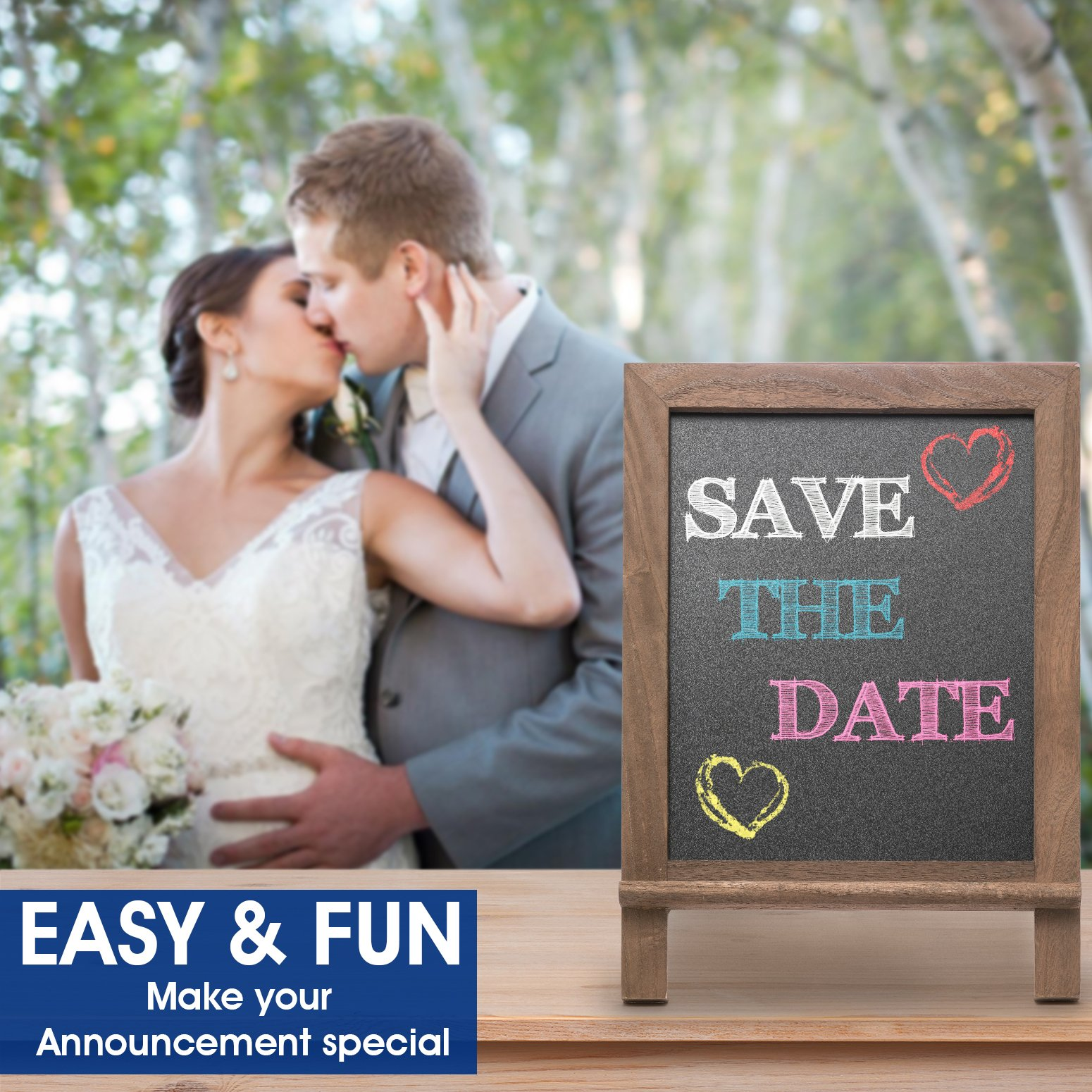 Premium Wood Framed Rustic Standing Chalkboard 12 x 16. Non-Porous Vinyl Surface. For Home, Bars, Restaurants and Weddings - for the Vintage Look! FREE BONUS: 24 chalks + Eraser + Storage Bag by KidisPro (Image #2)