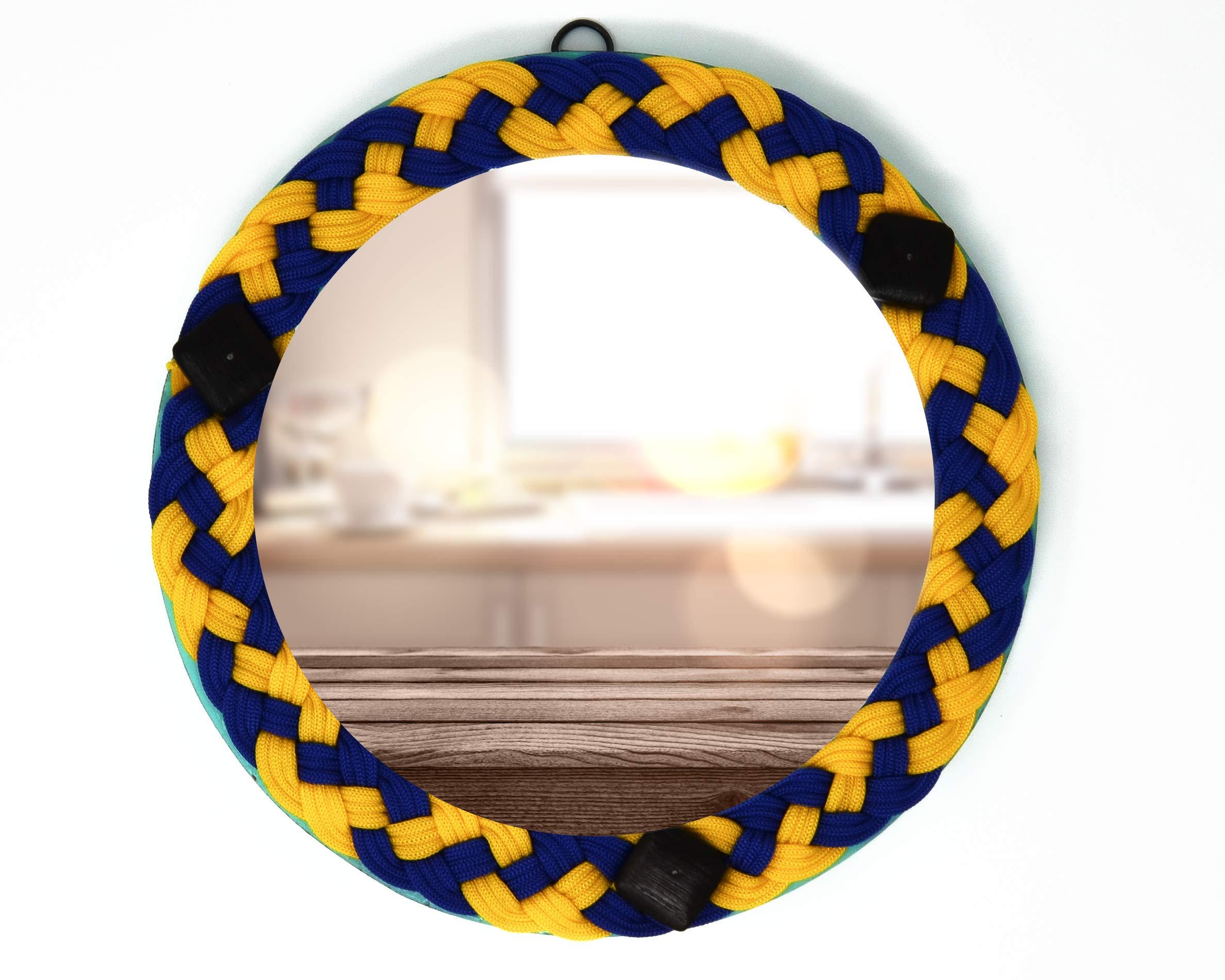 ARTISANS CRAFT - Beautifully Handmade & Handcrafted Premium Wall Mounted Mirror Weaving Silk Thread Work on Border, Home Decor, Home Improvement (9 X 9)