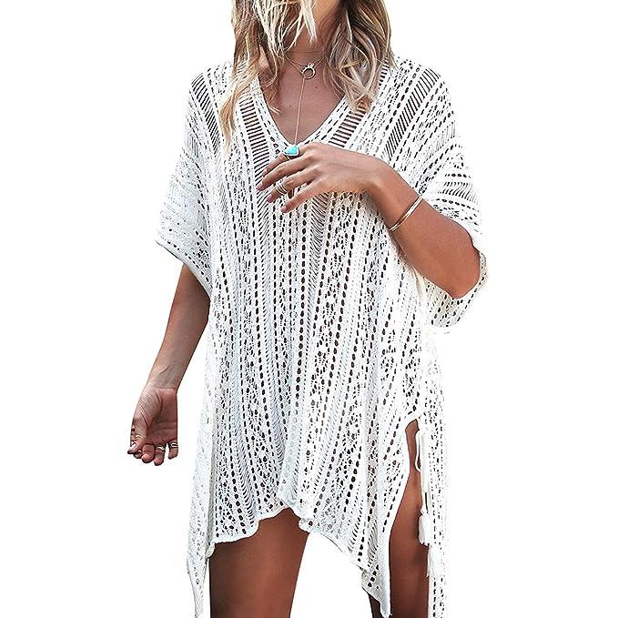 Vestidos de Playa Mujer Verano Ganchillo Flor Tejer Ropa de Baño Cubrir Tapa de Bikini Traje