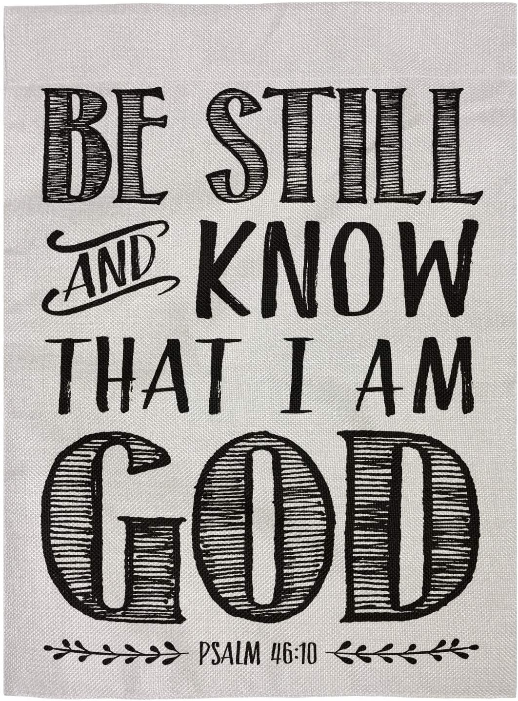 """pingpi Christian Biblical Design Double Sided Burlap Garden Flag 12.5""""x18"""", Be Still and Know That I am God - Psalm 46:10"""